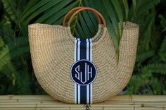 Be Monogrammed features custom monogram jewelry in gold, silver and acrylic, personalized gifts, accessories. On trend celebrity monogram necklace collection Beach Basket, Moon Beach, Canvas Purse, Monogram Jewelry, Straw Handbags, Basket Bag, Shopping Day, Navy And White, Straw Bag