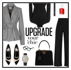"""Gray blazer"" by sandratb ❤ liked on Polyvore featuring Patrizia Pepe, Khaite, Yves Saint Laurent, Prada, Rolex, Essie and Christian Dior"