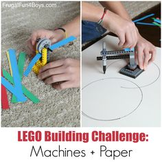 LEGO Building Challenge: Machines + Paper!  Build a paper crimper and a circle drawing machine.