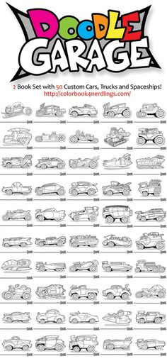 """Doodle Garage 2 Book Set 50 Cars, Trucks and Spaceships by Colorbook4Nerdlings on Etsy    I've always loved custom cars ever since my Dad took me to the """"World of Wheels"""" when I was a kid.   So if you like custom cars, hot-rods, spaceships or anything that moves fast.  Maybe you or someone you know might like these!"""