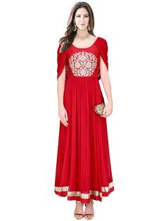 Captivating crepe anarkali in red color beautified with shiny zari work. Item Code: SLKE38866 http://www.bharatplaza.com/new-arrivals/salwar-kameez.html