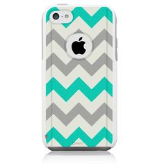 iPhone 5c Case [White] Chevron Turquoise [Dual Layer] UnnitoTM *1 Year Warranty* Case Protective [Custom] Commuter Protection Cover [Hybrid]