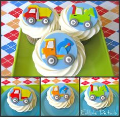Cupcakes for kids boys fondant 34 Super Ideas Truck Cupcakes, Cupcakes For Boys, Baking Cupcakes, Cupcake Cookies, 4th Birthday Cakes, Birthday Ideas, Fondant Cupcake Toppers, Beautiful Cupcakes, Modeling Chocolate