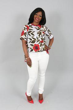 Ample confortable en coton blanc, rouge et jaune haut imprimé africain, chemises haut, haut bas haut, Baggy lâche dessus, baggy femme Chic est un été doit avoir des dames. ✥ DESIGN ✥ Ce cool ample top est particulièrement flatteur à toutes les tailles... XS-tour de poitrine : 32
