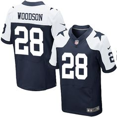 Men's Nike Dallas Cowboys #28 Darren Woodson Elite Navy Blue Throwback Alternate NFL Jersey