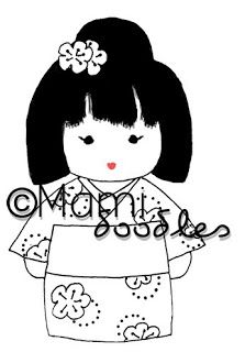"""[ Mami Doodles: Digital Stamps: Midori ] Midori is one of my favourite names, it means """"Green"""" in Japanese."""