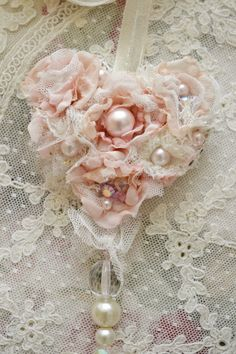 Beautiful Handmade Ribbon Work Fabric Flower Blush Pink Heart Ornament with…