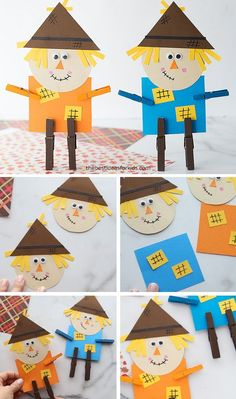 october crafts for kids This scarecrow craft is easy to make with our free printable template! Kids can create their own stand-up scarecrow from clothespins and paper! Scarecrow Crafts, Halloween Crafts For Kids, Crafts For Boys, Toddler Crafts, Preschool Crafts, Art For Kids, Easy Crafts, Autumn Art Ideas For Kids, Preschool Games