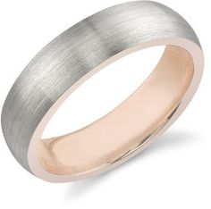 Men's 14K White Gold & Rose Gold Wedding Band by Applesofgoldetsy, $725.00
