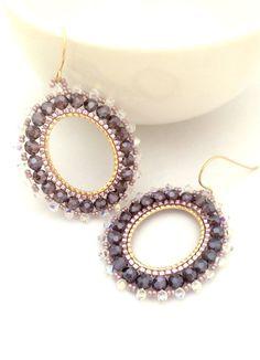 Beadwork Earrings/ Swarovski Hoop Earrings / Beaded by Ranitit