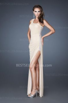 Fashion Nude One Shoulder Stretch Long Homecoming Dress for Sale [Side Split Homecoming Dresses] - $171.90 : Hot Sale | Homecoming Dresses, Prom Dresses, Formal Necktie, Classic Shoes