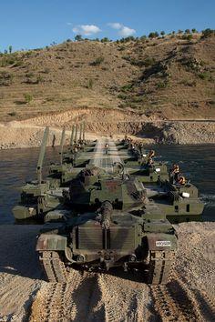 M60T (Türk Silahlı Kuvvetleri/Turkısh Army) crossing FNSS Samur mobile bridge
