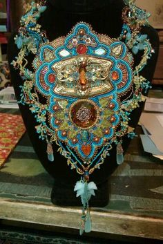 Spectacular bead-embroidered and embellished neckpiece - maker unidentified