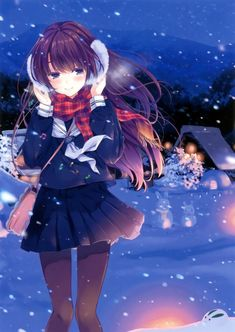 brunettes steam mountains nature winter snow trees school uniforms tie wind skirts long hair outdoors buildings snowmen pantyhose snowflakes smiling shirts scarfs purple eyes anime girls handbag earmuffs scans musical notes original characters
