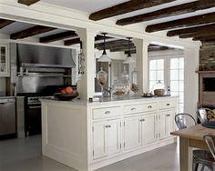 40 Trendy Kitchen Island With Columns Posts Exposed Beams Farmhouse Kitchen Cabinets, Kitchen Redo, New Kitchen, Kitchen Remodel, Kitchen Ideas, Stone Kitchen, Basement Kitchen, Kitchen Renovations, Kitchen Designs