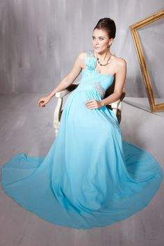 New Fashion Blue Cocktail One Shoulder Draped Beading Formal Long Evening Dress