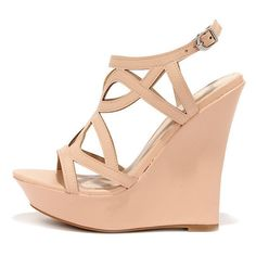 Pretty Please Nude Caged Wedge Sandals ($34) ❤ liked on Polyvore featuring shoes, sandals, wedges, pink, ankle wrap sandals, bamboo sandals, nude wedge sandal, ankle strap wedge sandals and pink platform sandals