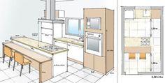 Como ter uma cozinha com ilha, mesmo se você tem pouco espaço. O projeto mostra as medidas mínimas para se ter uma cozinha assim