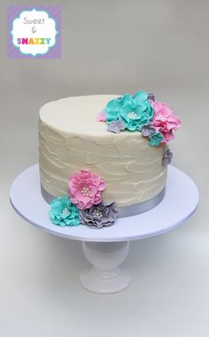 Floral Cake for a baby gender reveal by Sweet & Snazzy https://www.facebook.com/sweetandsnazzy