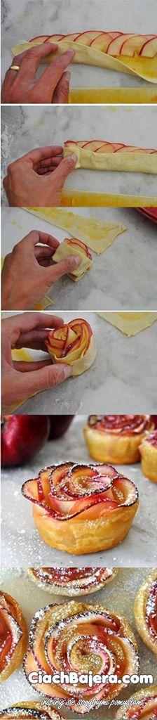 Różyczki z ciasta francuskiego i jabłek