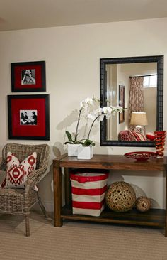 Sarah Richardson Basement Reno - perfect combo of red and browns and tans for my sunroom!