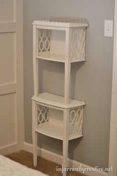 I now need two secondhand end tables to cut in half. This bathroom shelving idea is fantastic - as is the other, to use as matching night tables.