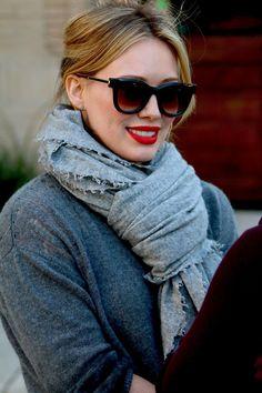 Hilary Duff-Red Lips & Black Shades