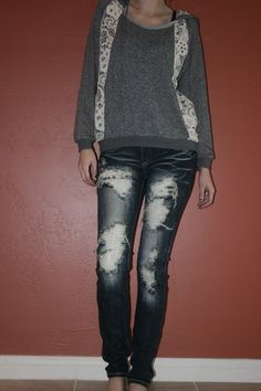 Grey Hoodie with Lace and Dark Wash Distressed Machine Jeans with Lace Patches. ShopMissLuxe.com