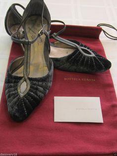 Bottega Veneta Grey Blue Velvet T Strap Kitten Heels Sz 36.5  ~ Wish these were WAY larger a size!
