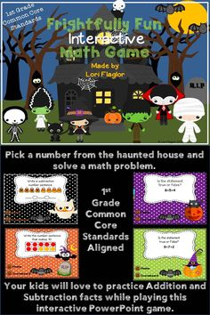 Frightfully fun way to practice addition and subtraction with this interactive Powerpoint game