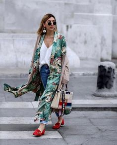 $75 Cool Cute Casual Summer Time Beach Silk Kimono With Turquoise Green Floral Patterning And Plain Denim Jeans And White T-Shirt Street Style