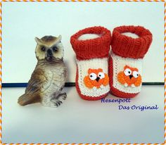 Babyschuhe Merino orange EULE von Hexenpott auf DaWanda.com
