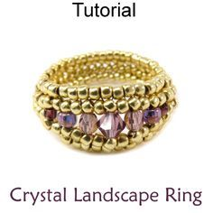 Beaded Crystal Landscape Ring Herringbone Beading Pattern  ~ Seed Bead Tutorials