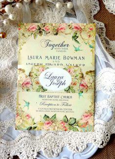RUSTIC WEDDING INVITATION Suite Sample - Unique, Custom Designed Wedding Invitation Suite. Shabby Chic, Vintage, Rustic Inspired