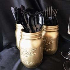 Good spray painted mason jars make great containers for an awards show party. Throw a fabulous Oscar party! Click or visit FabEveryday.com for tips on food, decor, and activities for throwing an easy (but fab) Academy Awards watching party. Including a free printable Oscars voting ballot!