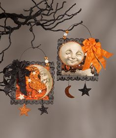 Magic Moonlight Postcard Ornaments with Vintage Halloween Moon bethany lowe halloween Halloween Paper Crafts, Fairy Halloween Costumes, Halloween Magic, Theme Halloween, Halloween Ornaments, Halloween Trees, Halloween Projects, Diy Halloween Decorations, Holidays Halloween
