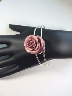 Rose Polymer Clay Cuff Bracelet- rose pink nude blush cuff silver bracelet Hand Of Fatima, The Blushed Nudes, Hamsa Hand, Organza Gift Bags, Bracelet Sizes, Beautiful Roses, Stretch Bracelets, Bracelet Making, Pink Roses
