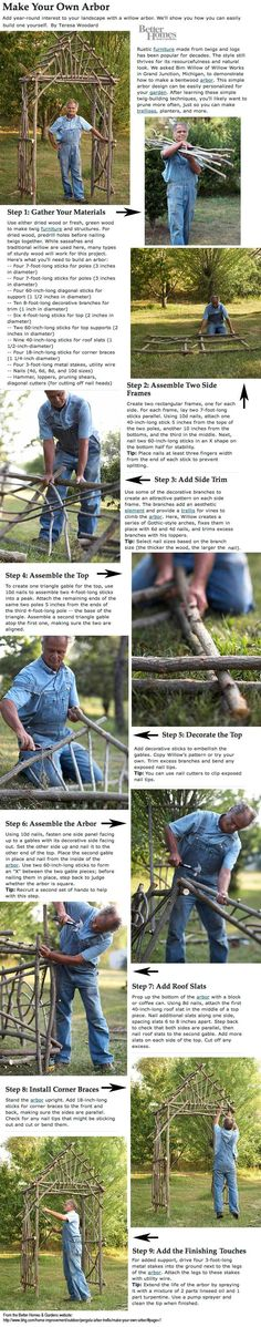 How to make your own arbor from twigs and sticks of willow trees! DIY instructions. This is so pretty.