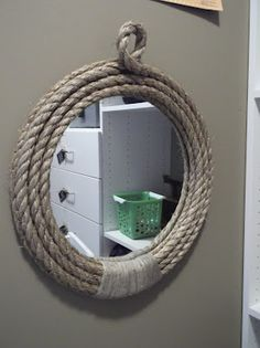 DIY Rope Mirror for beach bathroom? Frame the large rectangle mirror?