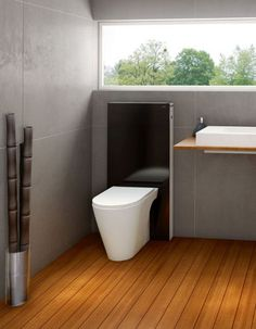 Modern Minimalist Bathroom Toilets Modular Design, Monolith by Geberit - Home Design Inspiration Wet Room Bathroom, Upstairs Bathrooms, Bathroom Toilets, Bathroom Fixtures, Plumbing Fixtures, Bath Room, Minimalist Bathroom, Modern Minimalist, Geberit Monolith