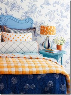 Accent your bed with polka dot linens!
