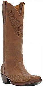 """13"""" tall. 1.5 """" heel. More expensive. Old Gringo® Ladies Tan Viridiana Embroidered Snip Toe Western Boots"""