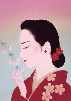 by: Ichiro Tsurato Japanese visual artist, was born in 1954 in the city of Hondo in Kumamoto Prefecture, Ichiro Tsuruta grew up in Kyushu's Amakusa Region, Japan. Geisha Kunst, Geisha Art, Art And Illustration, Amakusa, Art Asiatique, Kumamoto, Kunst Poster, Art Japonais, Korean Art