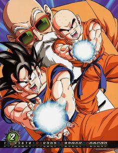 DBZ calendar Goku Krillin Roshi
