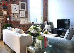 Living space, exposed brick