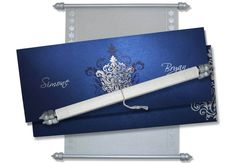 Royal Blue Scroll Invitation Box with White Scroll Scroll Wedding Invitations, Scroll Invitation, Wedding Invitation Cards, Menu Cards, Table Cards, Money Envelopes, Sweet Box, Decoration, Thank You Cards