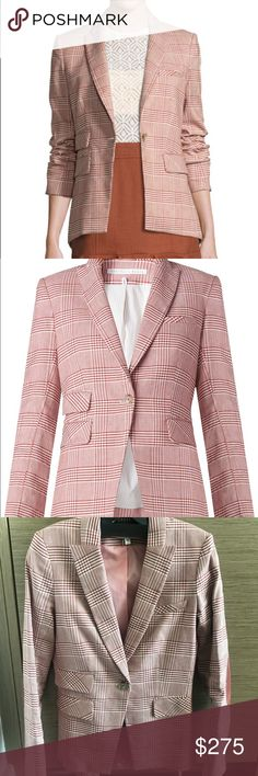 Veronica Beard Glen plaid blazer Worn once! Very pretty muted red (rust) color with suede elbow patches. Great for work to weekend wear dresses up or down. Fits true to size. Veronica Beard Jackets & Coats Blazers