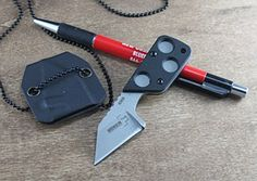 """The single-edged blade, made of 440C stainless steel, is chisel ground with a straight edge, providing precise and effective cutting. The G-10 scales and deep finger grooves provide a secure grip. Includes Kydex sheath and ball chain. Blade length: 2"""". Overall length: 4"""". Weight: 1.5 oz. $26.46 ($25.50 at BladeHQ.com)"""