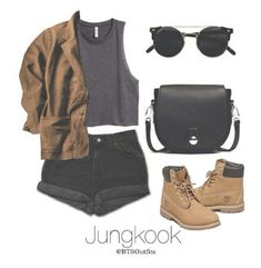 A fashion look from April 2016 featuring sleeveless shirts, denim shorts and flat shoes. Browse and shop related looks. Korean Fashion Kpop, Kpop Fashion Outfits, Korean Outfits, Cute Fashion, Casual Outfits, Zoo Outfit, Pretty Outfits, Cute Outfits, Bts Clothing