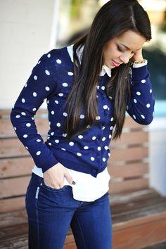 Navy & white Polka dots